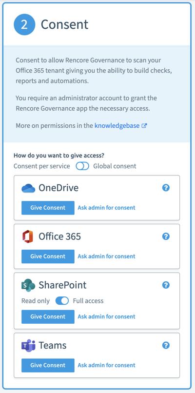 Give consent per service